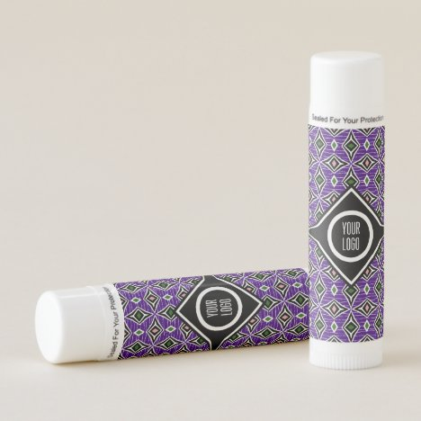 Personalized purple aztec boho diamond design lip balm