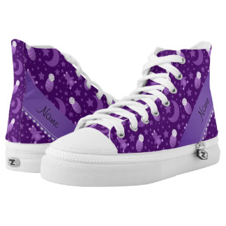 Personalized purple baby teddy bear stars moons High-Top sneakers
