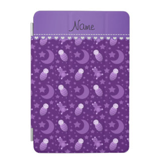 Personalized purple baby teddy bear stars moons iPad mini cover