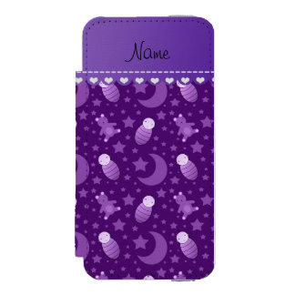 Personalized purple baby teddy bear stars moons iPhone SE/5/5s wallet case