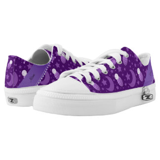 Personalized purple baby teddy bear stars moons Low-Top sneakers