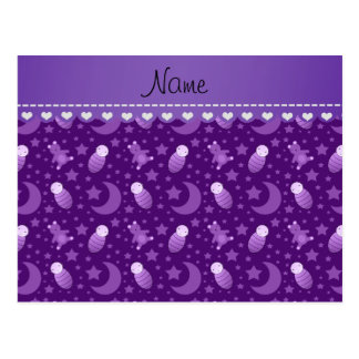 Personalized purple baby teddy bear stars moons postcard