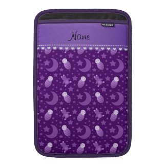 Personalized purple baby teddy bear stars moons sleeve for MacBook air