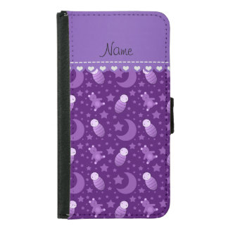 Personalized purple baby teddy bear stars moons wallet phone case for samsung galaxy s5
