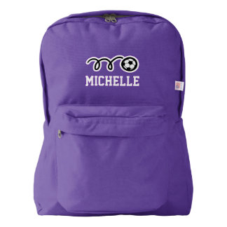 Personalized purple backpack with soccer ball logo
