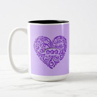 Personalized Purple BFF Heart Mug