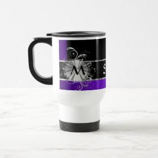 Personalized purple black and silver travel mug