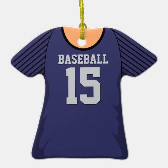 Personalized Purple/Black Baseball Jersey 15 V1 Ceramic Ornament