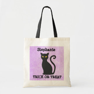 Personalized Purple Black Cat Halloween Candy Bag