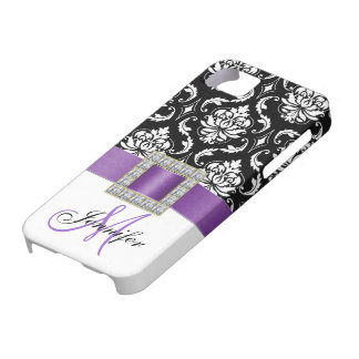 Personalized Purple Black Damask iPhone 5 Case