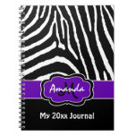 Personalized Purple Black White Zebra Journal Note Book