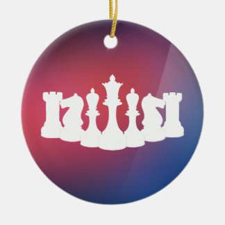 Personalized Purple, Blue and White Chess Ornament