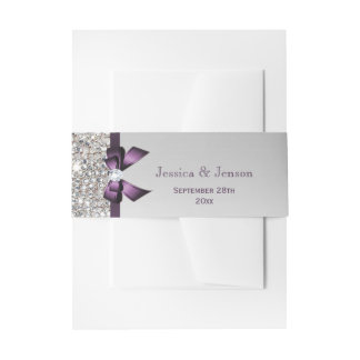 Personalized Purple Bow and Diamonds Wedding Invitation Belly Band