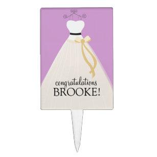 personalized purple bridal shower cake topper