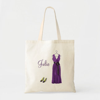 Personalized Purple Bridesmaid Tote Canvas Bags