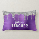 Personalized Purple Brushed Metal Teacher Lumbar Pillow