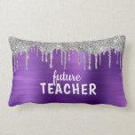 Personalized Purple Brushed Metal Teacher Lumbar Pillow