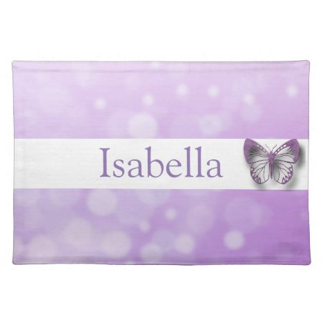 Personalized Purple Butterfly Name Place Mat