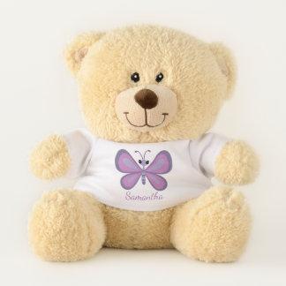 Personalized Purple Butterfly Teddy Bear