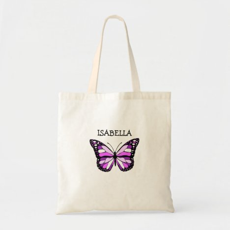 Personalized Purple Butterfly Tote Bag