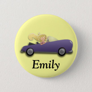 Personalized Purple Car and Girl Button