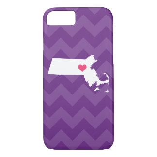 Personalized Purple Chevron Massachusetts Heart iPhone 7 Case