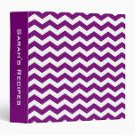 Personalized Purple Chevron Recipe Binder