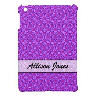 Personalized purple circle square pattern cover for the iPad mini