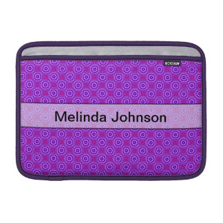 Personalized purple circle square pattern MacBook air sleeve