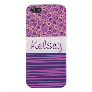 Personalized Purple Circles Stripes iPhone 5 Case