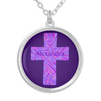 Personalized Purple Cross Christian Art Jewelry