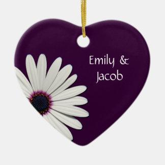 Personalized Purple Daisy Heart Ornament