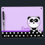 """Personalized Purple Daisy Panda Dry Erase Board<br><div class=""""desc"""">Super cute personalized  panda dry erase board</div>"""
