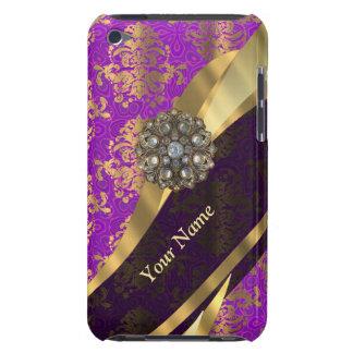 Personalized purple damask pattern barely there iPod case