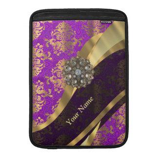 Personalized purple damask pattern MacBook air sleeve