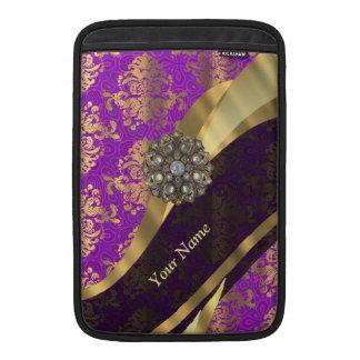 Personalized purple damask pattern MacBook sleeve