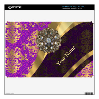 Personalized purple damask pattern skin for the MacBook