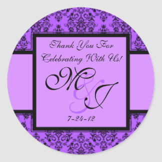 Personalized Purple Damask Wedding Favor Labels