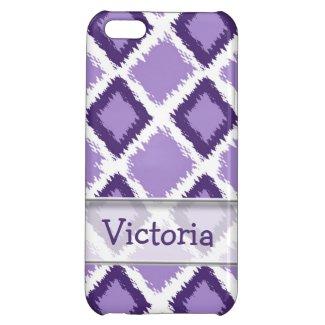 Personalized Purple Diamond Ikat Pattern iPhone 5C Covers