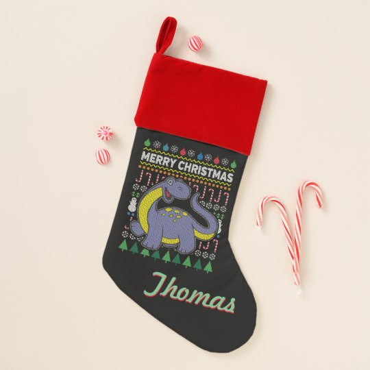 personalized purple dino ugly christmas sweater christmas stocking - Sweater Christmas Stockings
