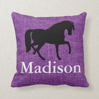 Personalized Purple Faux Burlap Horse Silhouette Throw Pillow