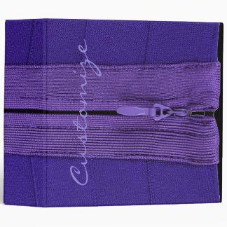 Personalized Purple Faux Zipper Binder