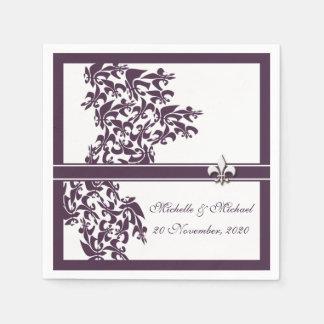 Personalized Purple Fleur de Lis Damask Style Standard Cocktail Napkin