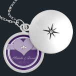 "Personalized Purple Fleur de Lis Heart Keepsake Locket Necklace<br><div class=""desc"">This Personalized Sliver Fleur de Lis Keepsake locket features a heart shape with a Fleur de Lis symbol in the center with room to personalize with your name(s) and your special date. Shown here in a shades of purple and white design.</div>"