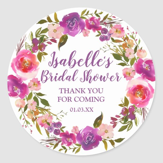 Personalized Purple Fl Bridal Shower Favor Clic Round Sticker