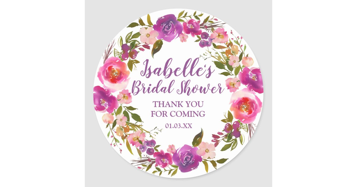 Bridal Shower Favor Clic Round Sticker