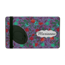 Personalized purple floral pattern iPad cover