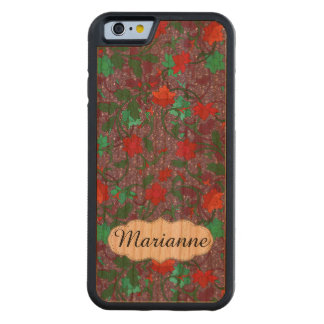 Personalized purple floral pattern carved® cherry iPhone 6 bumper case