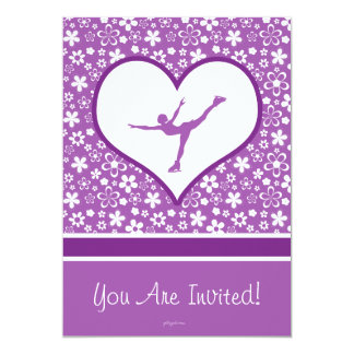 Personalized Purple Flowers Pattern Figure Skating Card