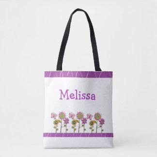 Personalized Purple Folk Flowers Tote Bag